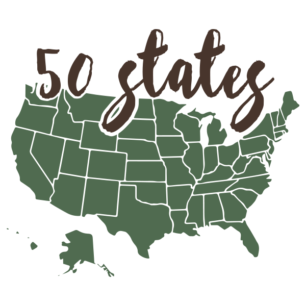"Green icon of USA with words ""50 states"""